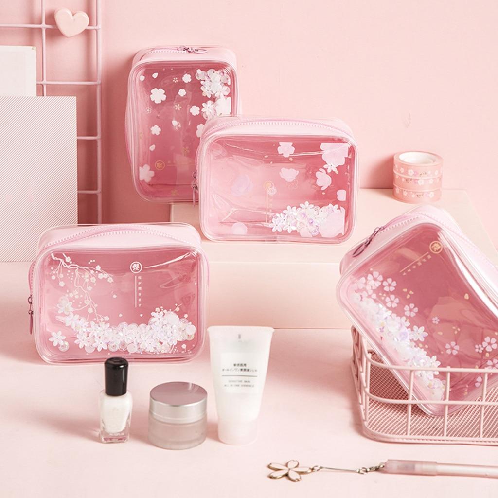 PVC Wasserdichte Quicksand Kosmetiktasche Ins Stil Net Rot Portable Storage Tasche Kleine rosa kirschblüte muster waschen tasche 2