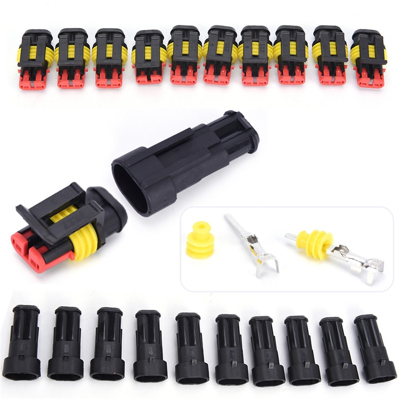 10 kits de plug conector de fio elétrico, 2 pinos way selados à prova d água, conjuntos de automóveis