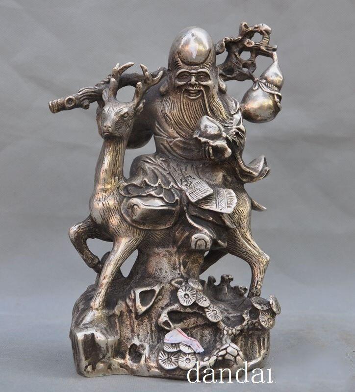 Plateado China de Navidad, pino, árbol, melocotón, dios de la longevidad, ciervo montando calabaza, Estatua de la suerte, halloween