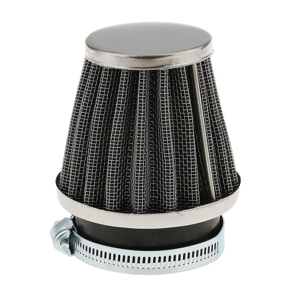 Limpiador de filtro de entrada de aire de cono Universal para motocicleta de coche de 50mm con anillo de abrazadera para filtros de automóviles