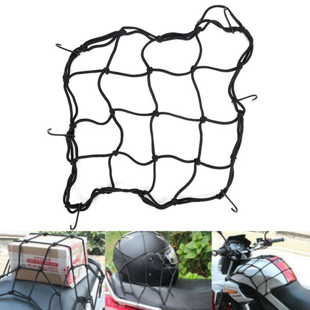 30*30cm preto bungee carga net motocicleta cabo capacete de armazenamento malha tamanho ajustável com 6 ganchos de metal