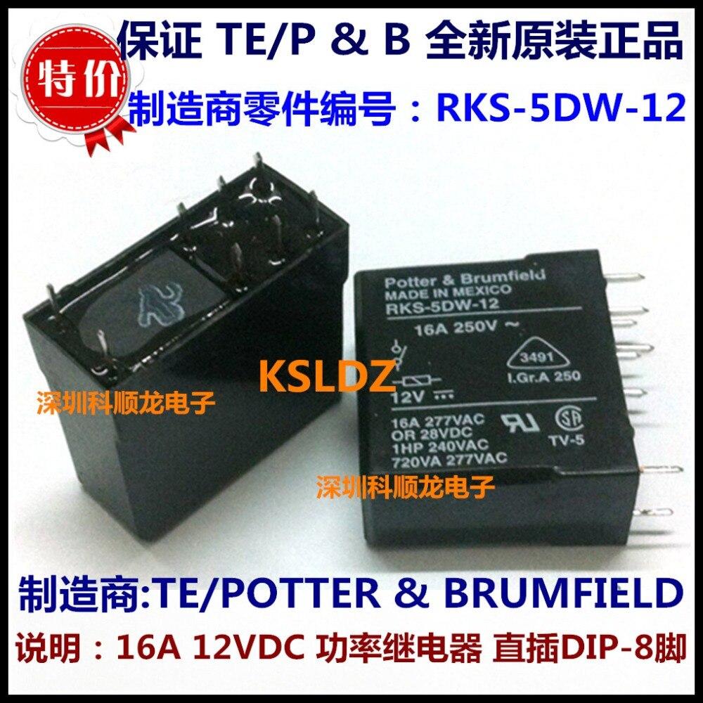 TE POTTER & BRUMFIELD RKS-5DW-12 8 pines 16A 12VDC relé de potencia original nuevo