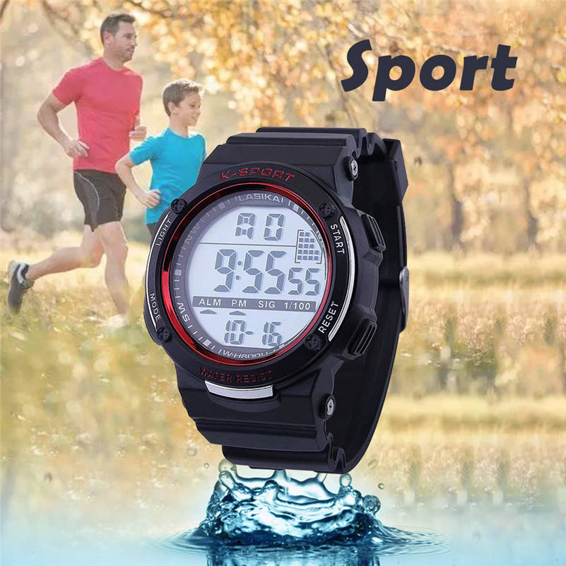 Lasika marca men multi função luminosa à prova dwaterproof água esportes relógios moda display led relógio eletrônico relogio masculino 661s4