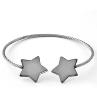 2pcs new simple fashion elastic stainless steel hand woven 20mm five pointed star opening men and women bracelet accessories