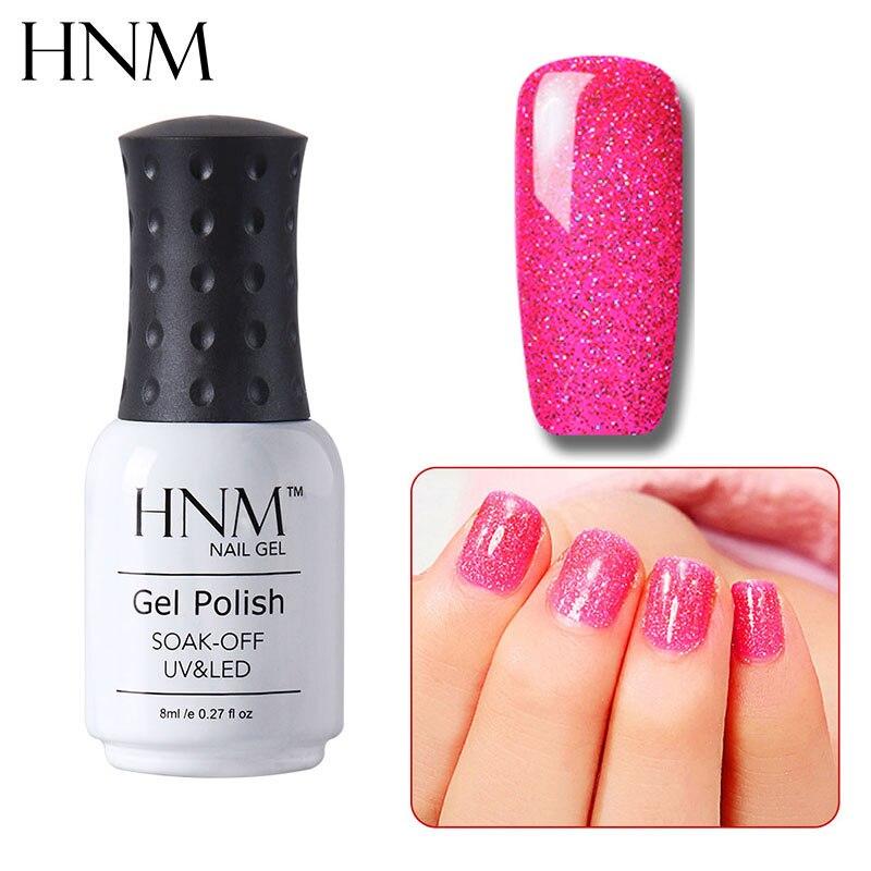HNM 8ML Bling paillettes UV vernis à ongles chanceux laque néon Semi Permanent vernis à ongles estampage émail peinture Gellak Base supérieure apprêt