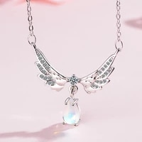 meyrroyu 2021 new necklace water drop moonstone wing pendant necklace ladies couple valentines day jewelry best gift