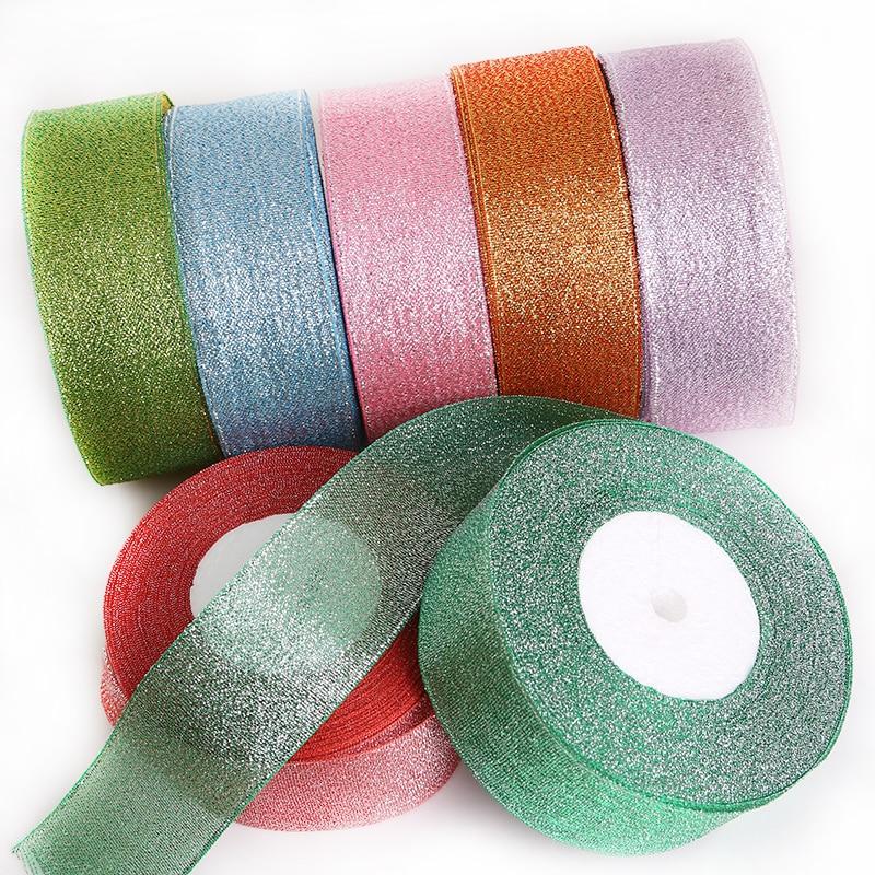 Cinta metálica de Organza, cinta para decoración para fiesta de boda, papel de regalo, cintas de Navidad DIY, Material hecho a mano (25 yardas 38mm)