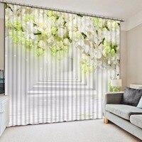 3D Curtain Three-dimensional flowers European style Curtains white kitchen Curtains Modern Decoration