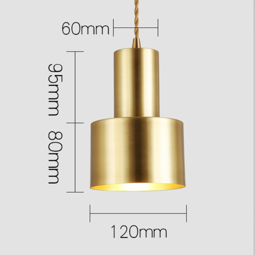 Nordic Contracted Copper color Pendant Lights Gold decorative brass hanging lamp Europe industrial luminaire suspendu  - buy with discount