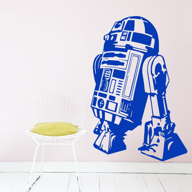 Arte design star wars robô adesivo de parede citação r2 d2 decalque vinil decoração para casa crianças geek gamer removível mural quarto papel
