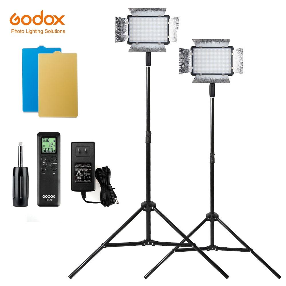 Envío Gratis DHL 2X Godox LED500LRC 500 LED 3300-5600K Luz de vídeo con reflectores + Kit de soportes de luz de 200cm