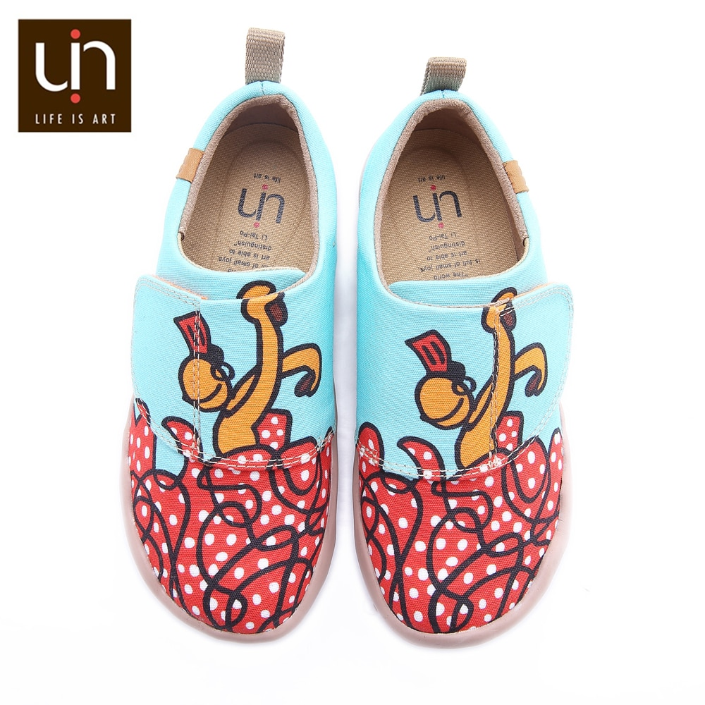 UIN Dancing Design Painted Kids Casual Shoes Comfort Hook & Loop Canvas Flats for Boys/Girls Soft Outdoor Shoes Children enlarge
