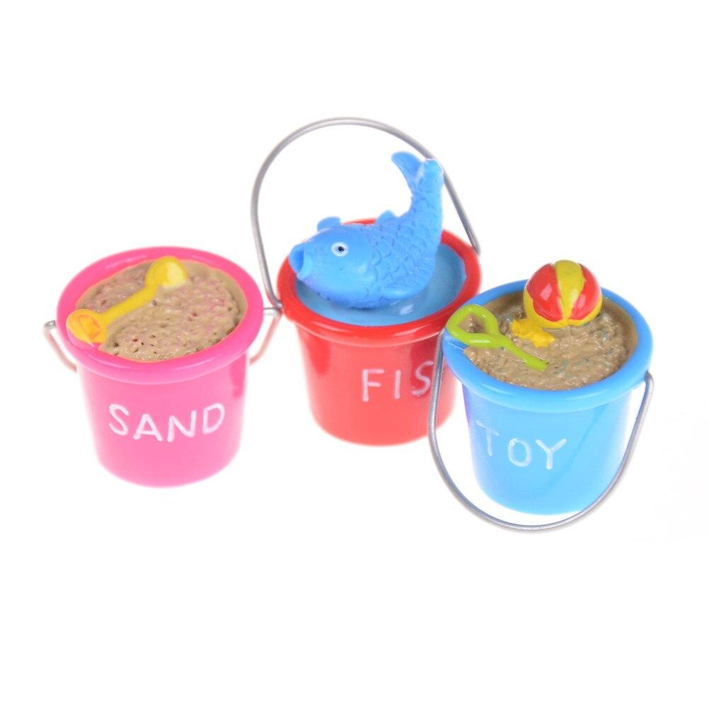 3 Styles DIY Mini Sand Beach Buckets Ornaments doll house Miniature Model Toys Scene 1:12 doll house Accessories Randomly