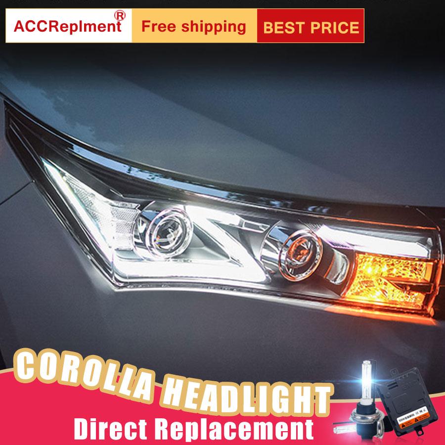 Faros delanteros LED 2 uds para Toyota Corolla 2014-2015 luces LED de coche bombillas Ojo de Ángel Xenón HID KIT faros antiniebla luces LED luces de circulación diurna