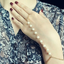 Fashion Handmade Pearl Gold Bracelet Long Slave Chain Finger Bracelet Hand Accessories for Women L041