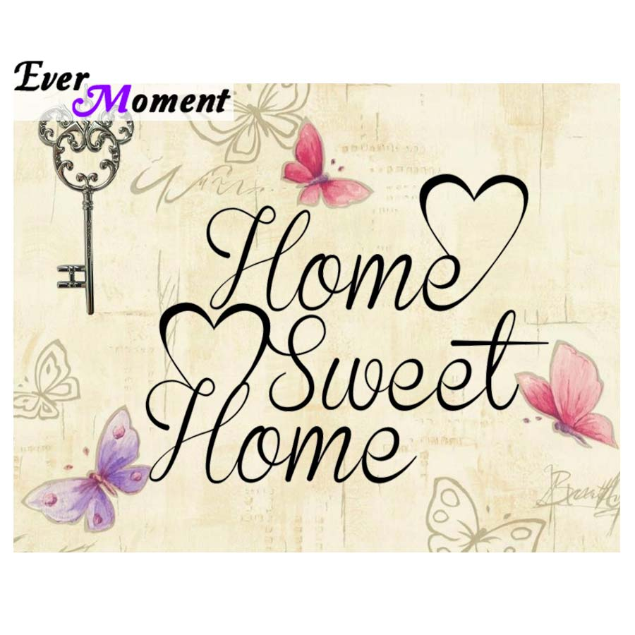 Immer Moment Diamant Malerei Home Sweet Home durch Jutta 5D Diamant Kristall Malerei Stickerei Diamant Kunst Schmetterling Schlüssel ASF921