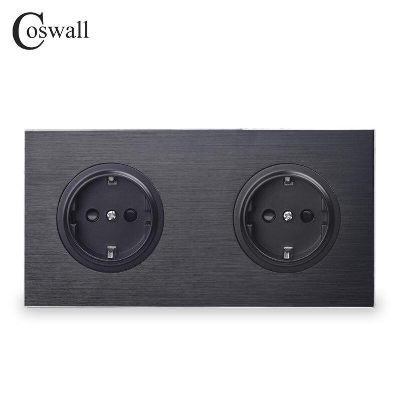 Coswall роскошная черная алюминиевая панель 16A двойная розетка стандарта ЕС, 2 выхода, заземленная с защитным замком для детей