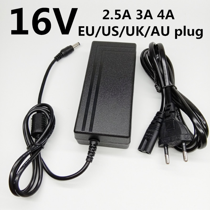 16 V Universal EU US UK AU enchufe AC a DC adaptador de corriente 16 V 2.5A 2500mA 3A 4A transformador de conmutación suministro de potencia de voltaje 16