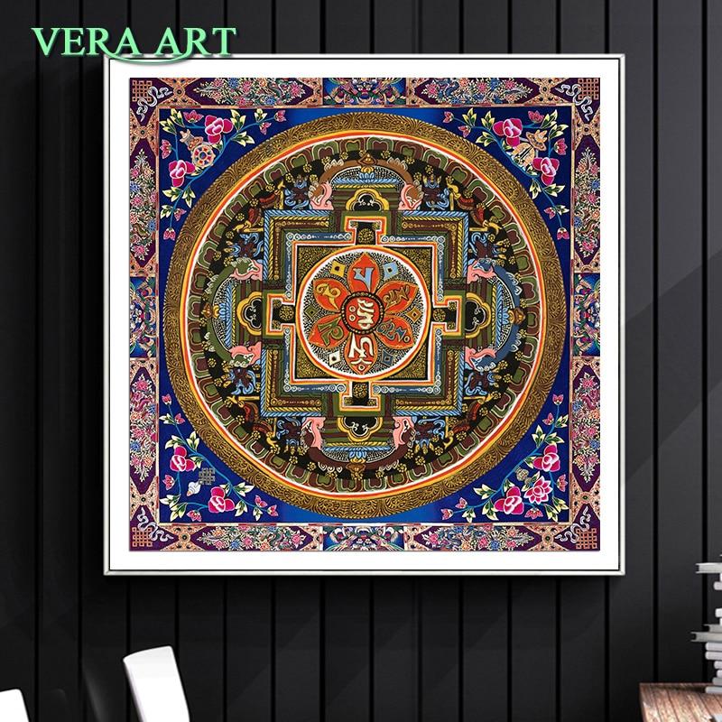 Тибет тангка художественная живопись печатная Художественная печать Большие плакаты тибетская Мандала с Буддой цветок масло холст Художе...
