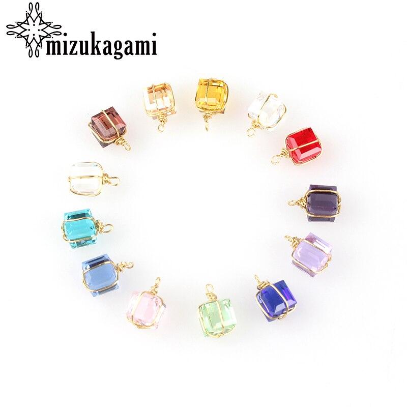 12 teile/los Bunte Kristall Birth Cube Geschenk Charms Anhänger 8MM Für Glass Living Memory Medaillon DIY Zubehör