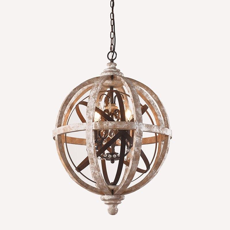 Купить с кэшбэком UMEILUCE Retro Chandelier Lighting Industrial Hanging Pendant Lamp Globe Dining Living Room Wood Farmhouse Vintage Island Light