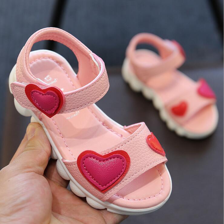 キッズサンダルガールズ 2019 夏子供オープントゥ靴愛カジュアルサンダルピンクホワイトビーチサンダル靴