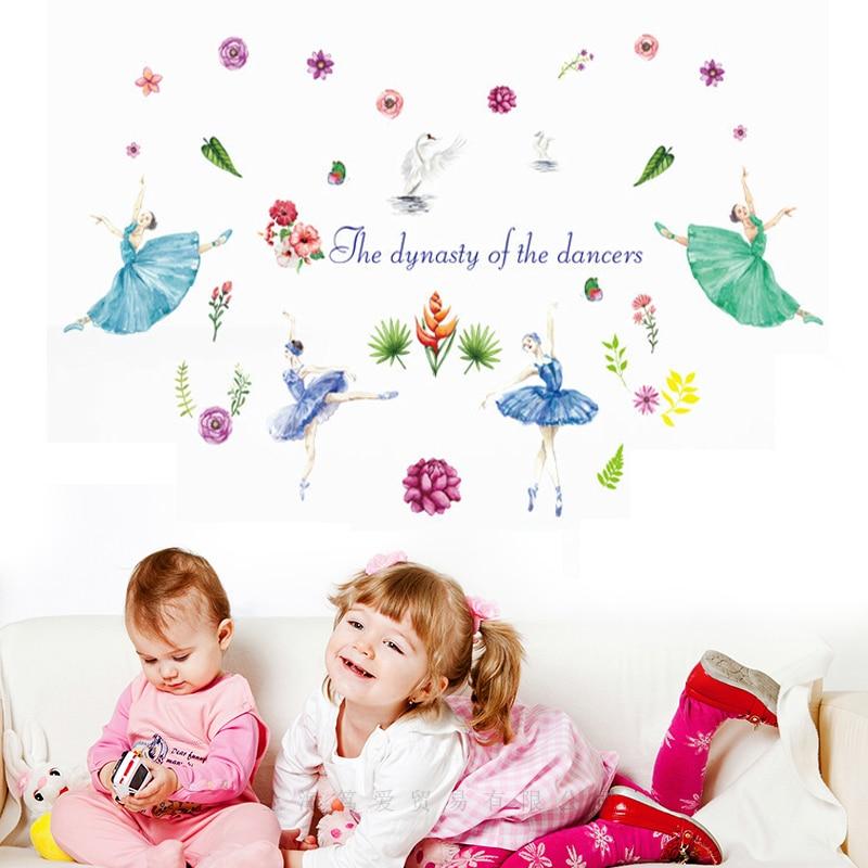 Watercolor Ballerina girl wall stickers PVC Material DIY Art Wall Decal for Kids room Kindergarten Home Decoration Wallpaper