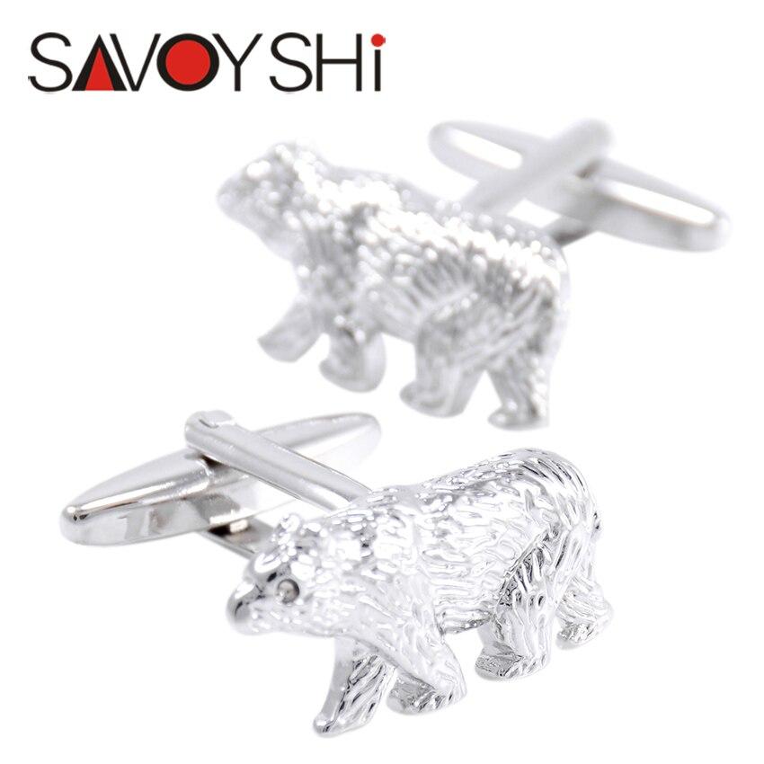 Savoyshi urso polar abotoaduras para homens camisa botões de punho alta qualidade novidade cor prata animal abotoaduras moda masculina jóias