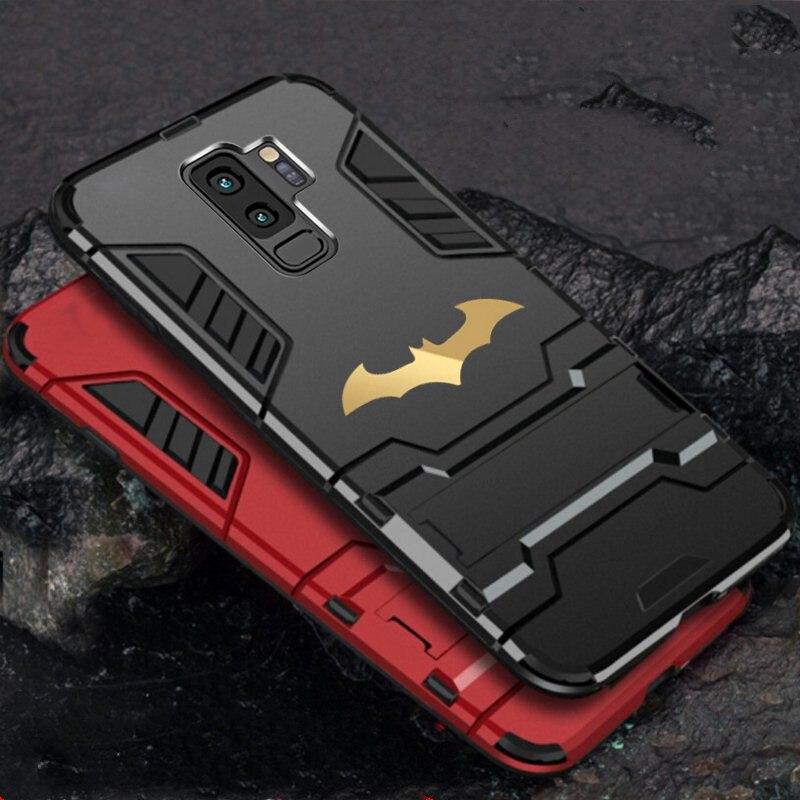 Funda de teléfono con soporte rígido a prueba de golpes para Samsung S9 Plus s10 s8 Plus, funda mate con soporte de armadura de Batman, funda de teléfono