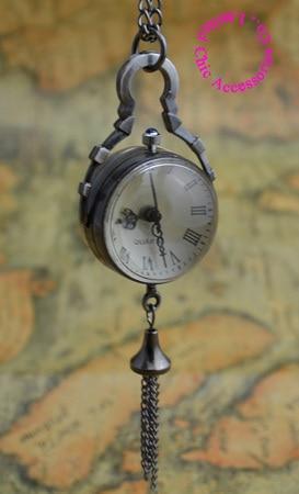 Preço de atacado de boa qualidade agradável nova bronze antigo clássico do vintage mini bola de vidro relógio de bolso colar hora