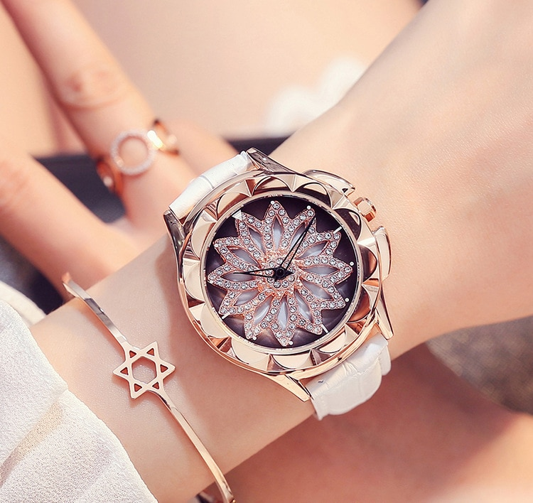 New Fashion Lady Rhinestone Watches Wome Rotation Dress Watch brand Real Leather Band Big Dial Bracelet Wristwatch Crystal Watch