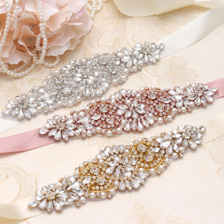 MissRDress Wedding Belt Bridal Belt Sash Silver Crystal With Pearls  Rhinestones Ribbons For Wedding Dress Accessories JK849