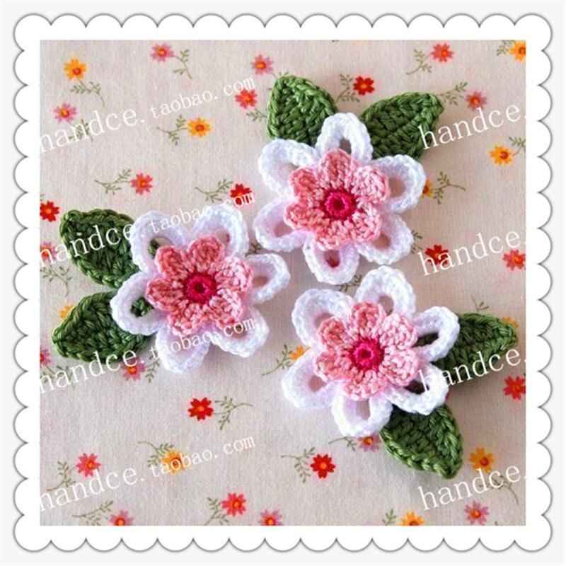 2016 nueva llegada 6 fotos 100 algodón natural crochet Flor de encaje de tela guangzhou con estambres 3d para decoración de boda artificail