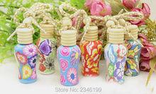 Bouteille de parfum dargile de Fimo de peinture de fleur de 12ML 30 pièces/lot, récipient cosmétique en verre, décoration Pendant de fiole de maison/voiture/personnalisée
