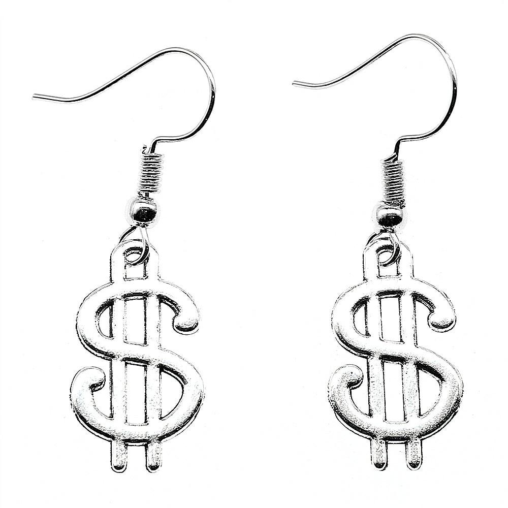 Us Dollar Sign 21x12mm Charm Dangle Earring For Women Charming Drop Earring Dropship Suppliers