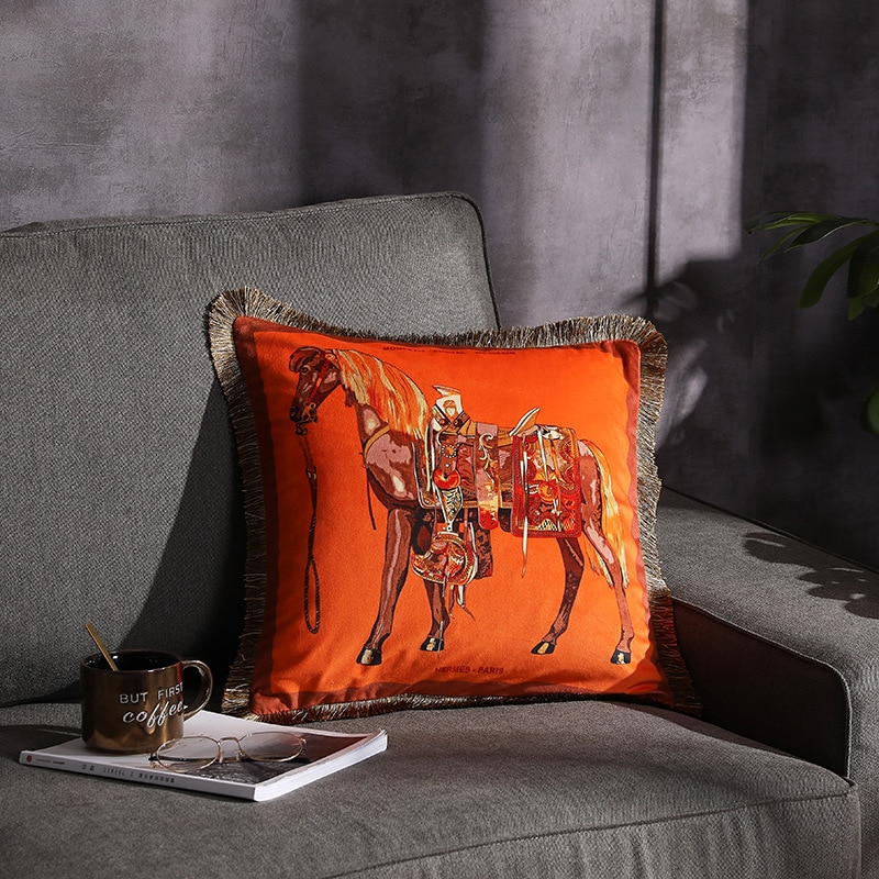 Роскошная бархатная наволочка ZENGIA с рисунком лошади и подушка с кисточками, Мягкая Наволочка с двойным принтом, наволочка, декоративная наволочка для дома, диванная подушка