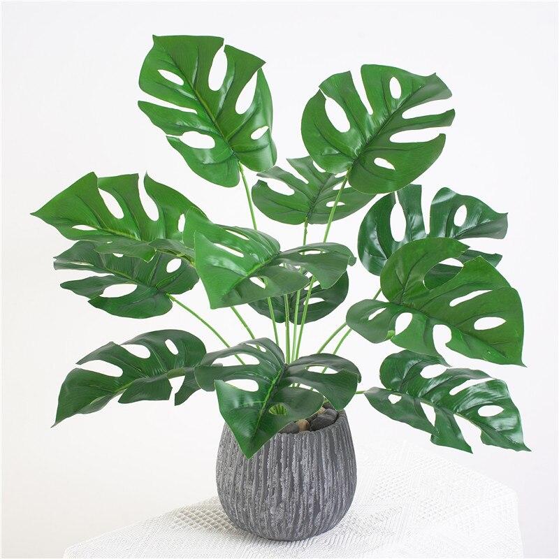 Verdor artificial arbustos al aire libre plantas Monstera hojas flores arreglos Interior Oficina de cocina Decoración de mesa de hotel