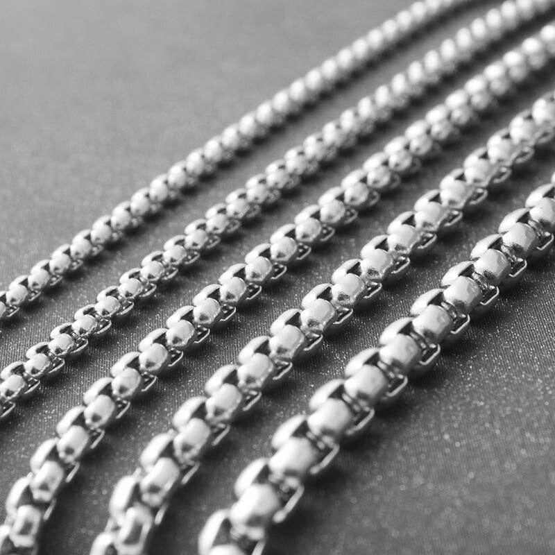 Moda de hombre de acero inoxidable cubo collar de 2,5/3/3/5/4/5mm de grosor básico largo cadena para fabricación de joyería DIY accesorios proveedor