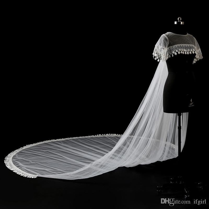 Elegante do Casamento do Laço Acessórios de Casamento Mais Novo Bolero Jaqueta Chão Comprimento Apliques Tule Nupcial Casamento Xale 2022