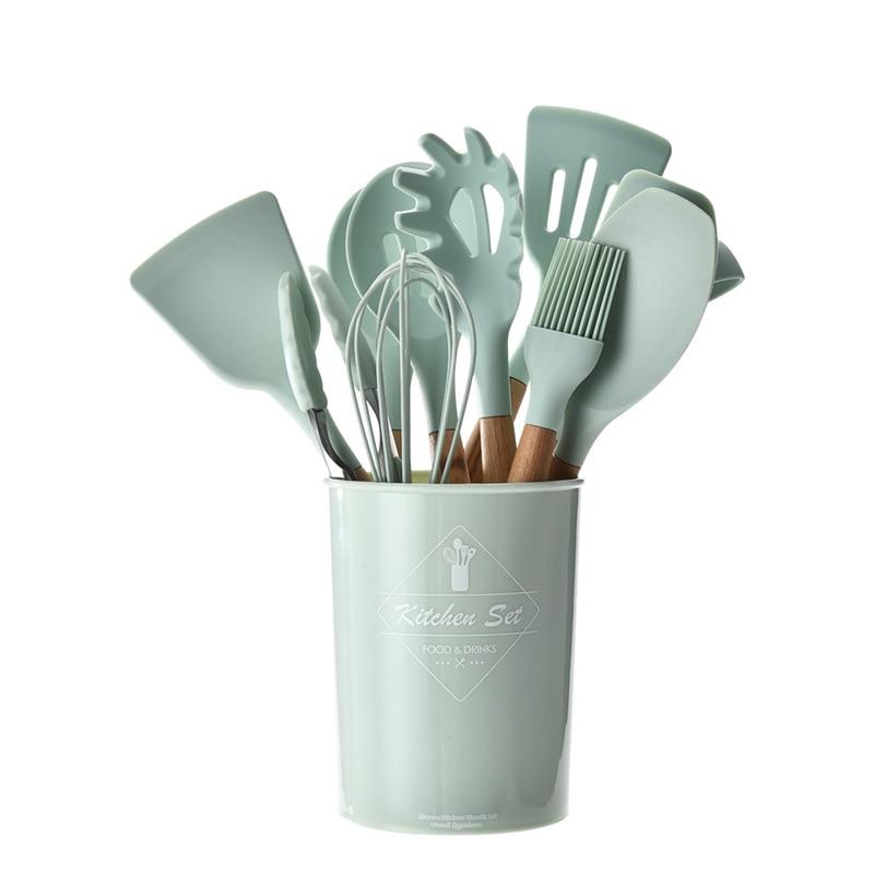 9 Uds conjunto de utensilios para cocina Premium de silicona verde fresco utensilios de cocina juego de tenazas Turner cuchara Turner juego de utensilios de cocina