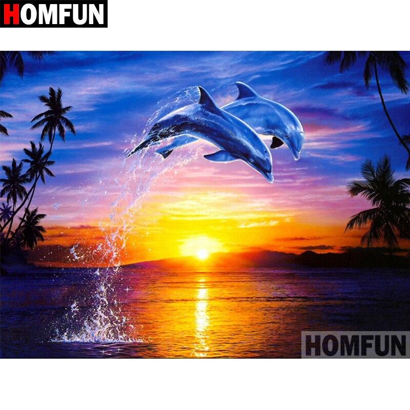 """HOMFUN 5D DIY Pintura Diamante Praça Cheia/Broca Redonda """"Animal golfinho"""" 3D Bordado Ponto Cruz presente Para Casa decor A02439"""