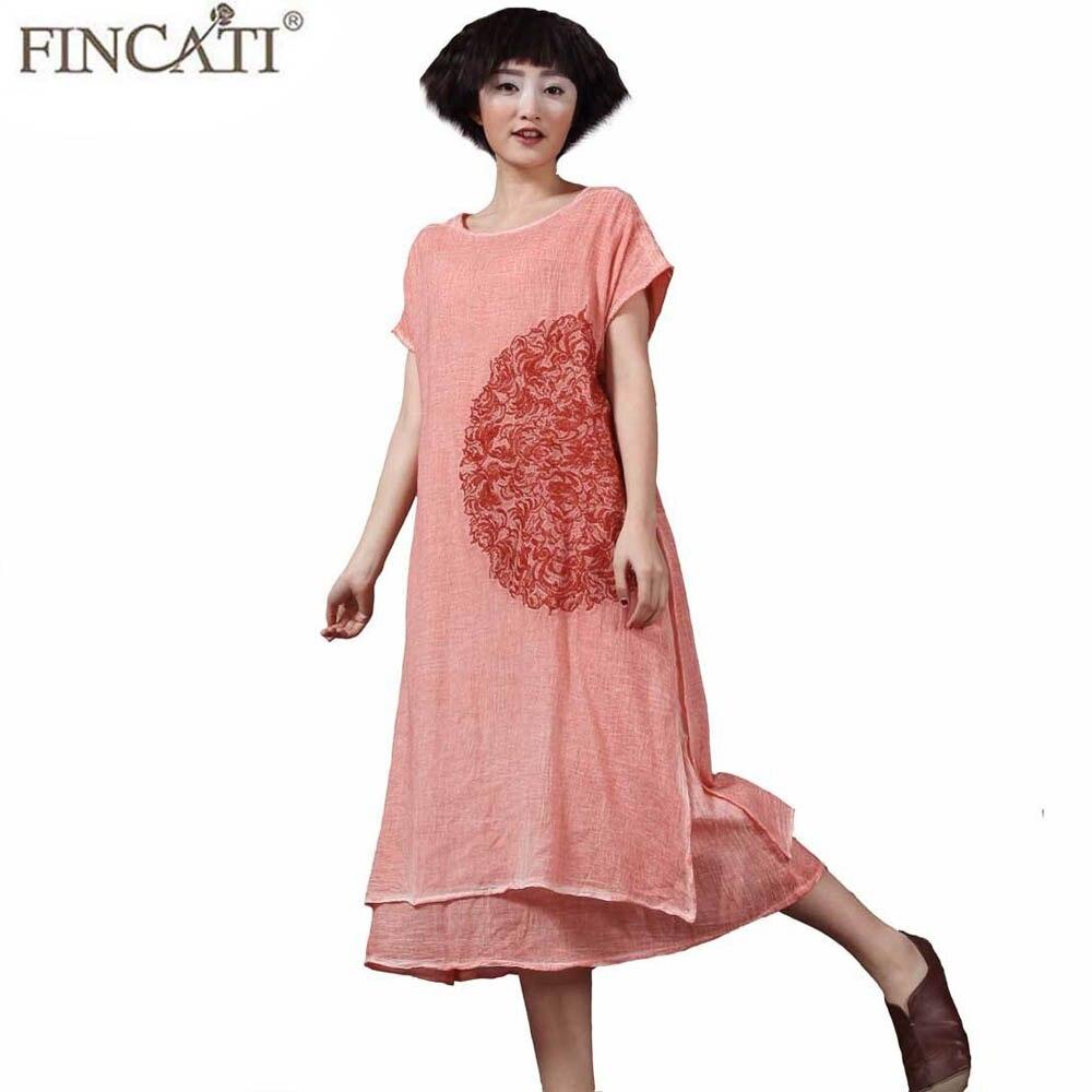 Vestido largo suelto holgado Primavera Verano 2018 algodón Lino Tie Dye floral de color bordado doble capas Boho Vintage Retro