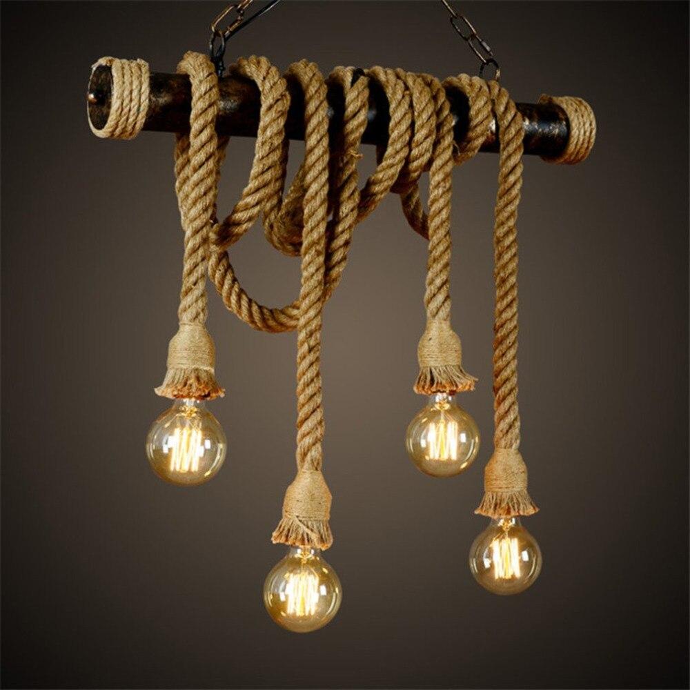 Винтажный промышленный декор, подвесная двойная головка, деревянная лампа E27 лампочка эдисона на веревке, декор в стиле ресторана, пенькова...