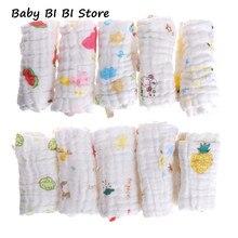 Serviette carrée en mousseline de coton pour bébé   5 pièces mouchoirs pour bébé, serviette pour le visage de bébé, lingette