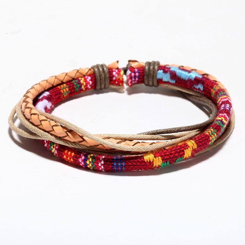 Mcllroy pulseras de cuero trenzado colorido cuerda ajustable pulsera rock hombres mujeres pulsera joyería Bohemia