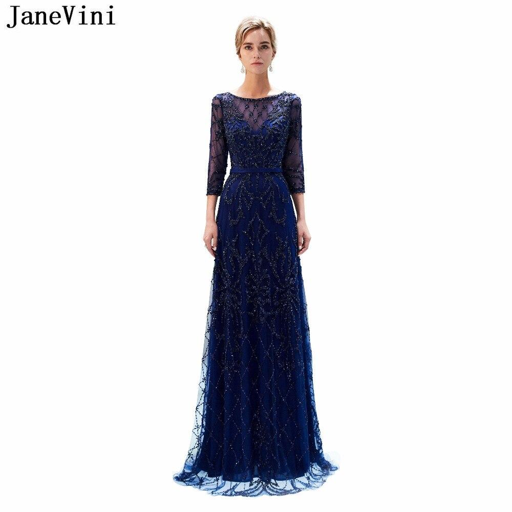 JaneVini Vintage azul marino vestidos largos de dama de honor con manga...