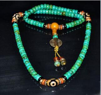 Tibetan turquoise buddhist buddha worry prayer bead mala Necklace