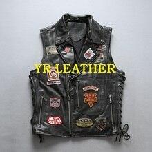 YR! livraison gratuite. fashion motor biker en cuir véritable jacket.100 % peau de vache manteau. cool hommes grande taille en cuir gilet, vol bomber