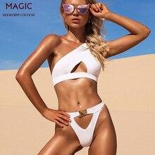 Taille haute deux pièces maillot de bain Bikini ensemble nouveau femmes brésilien pure Bikinis sexe natation Lingeries maillots de bain femme Costume blanc