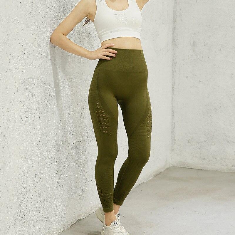 Штаны для йоги с высокой талией, женские бесшовные леггинсы для фитнеса, мягкие нейлоновые колготки для тренировки живота, спортивные Легги...